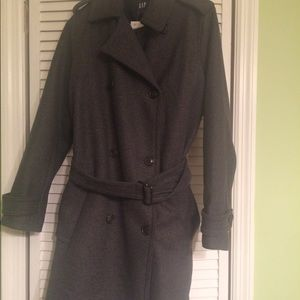 Gap New With Tags Wool Charcoal Grey Trench Coat